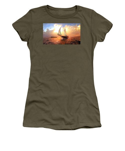 In Full Sail - Oil Painting Edition Women's T-Shirt (Junior Cut) by Lilia D