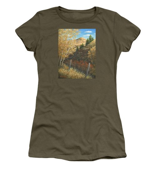 Women's T-Shirt (Junior Cut) featuring the painting In The Shadow Of Belt Butte by Kim Lockman