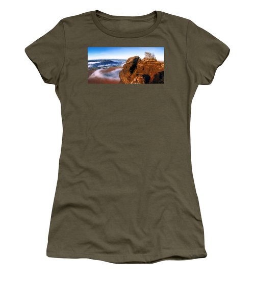 In The Sun Glowing Rock On The Lilienstein Women's T-Shirt