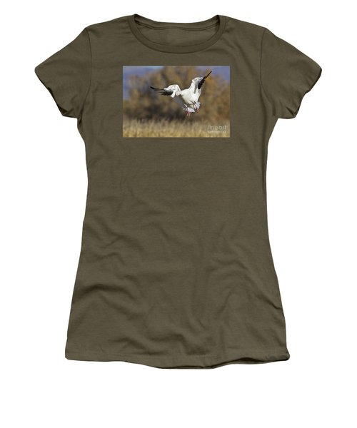 Women's T-Shirt (Junior Cut) featuring the photograph Incoming Snow Goose by Bryan Keil