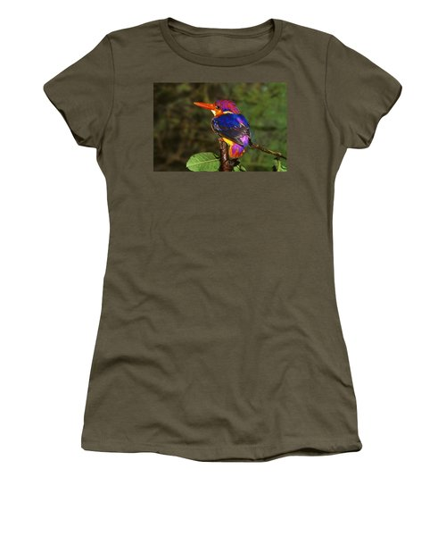 India Three Toed Kingfisher Women's T-Shirt (Junior Cut) by Anonymous