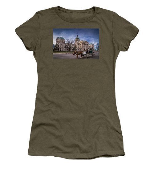 Indiana Capital Building - Front With Horse Passing Women's T-Shirt