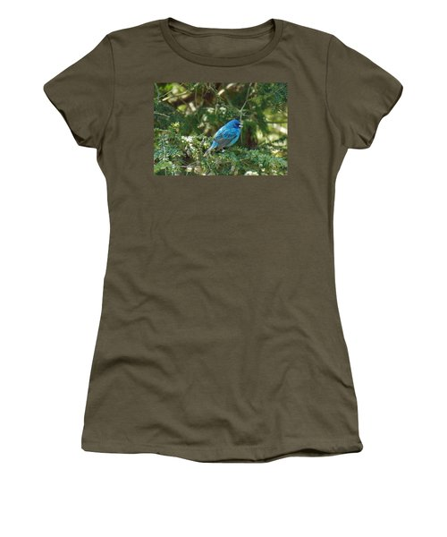 Indigo Bunting Visit Women's T-Shirt (Junior Cut) by Brenda Brown