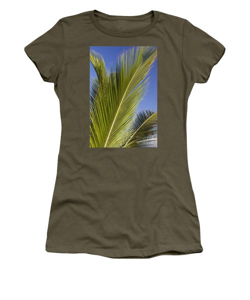 Women's T-Shirt featuring the photograph Isabel Beach In Puerto Rico Palm Trees Against Blue Sky by Bryan Mullennix