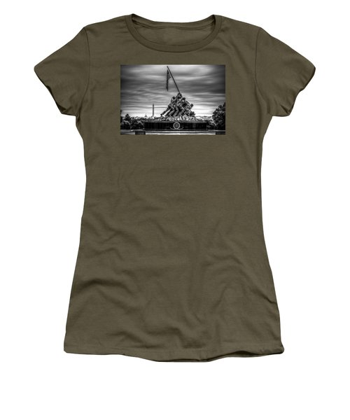 Iwo Jima Monument Black And White Women's T-Shirt