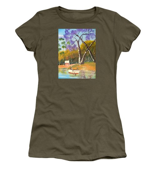 Women's T-Shirt (Junior Cut) featuring the painting Jacaranda Tree by Pamela  Meredith