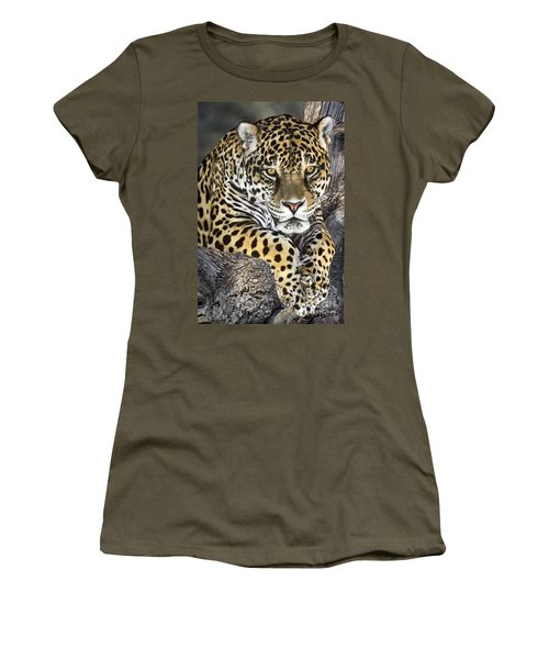 Women's T-Shirt featuring the photograph Jaguar Portrait Wildlife Rescue by Dave Welling