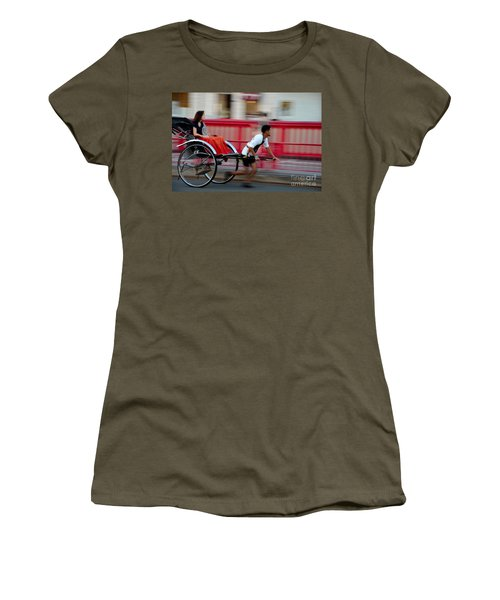Japanese Tourists Ride Rickshaw In Tokyo Japan Women's T-Shirt (Athletic Fit)
