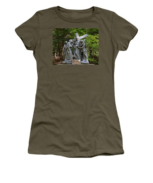 Jesus Meets His Mother Women's T-Shirt (Athletic Fit)