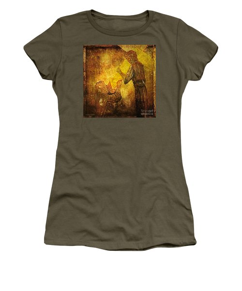 Jesus Meets His Mother Via Dolorosa 4  Women's T-Shirt (Junior Cut) by Lianne Schneider