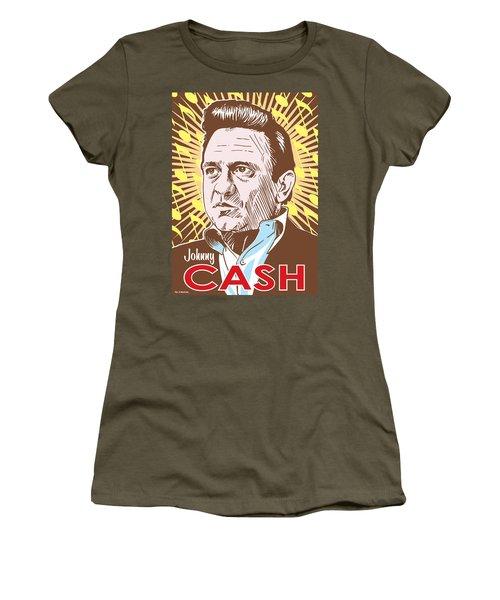 Johnny Cash Pop Art Women's T-Shirt (Junior Cut) by Jim Zahniser