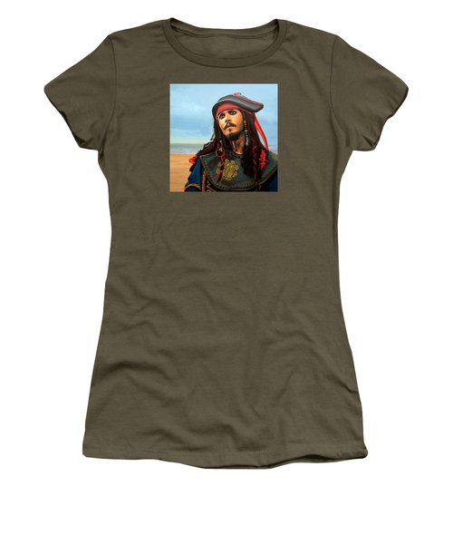 Johnny Depp As Jack Sparrow Women's T-Shirt (Junior Cut) by Paul Meijering