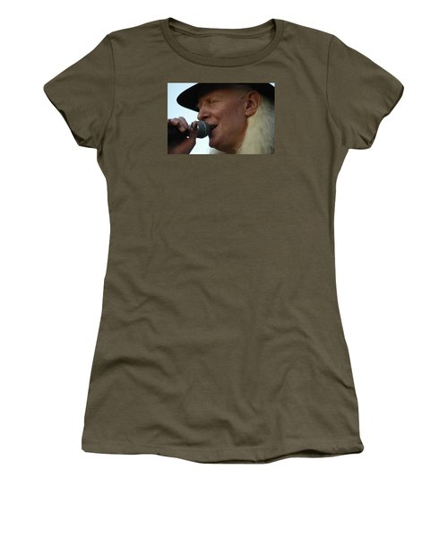 Women's T-Shirt (Junior Cut) featuring the photograph Johnny Winter Sings by Mike Martin