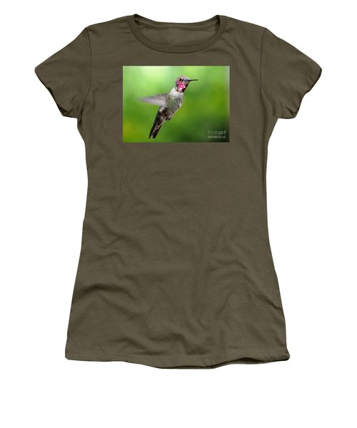 Women's T-Shirt (Junior Cut) featuring the photograph Juvenile Male Anna's In Flight by Jay Milo