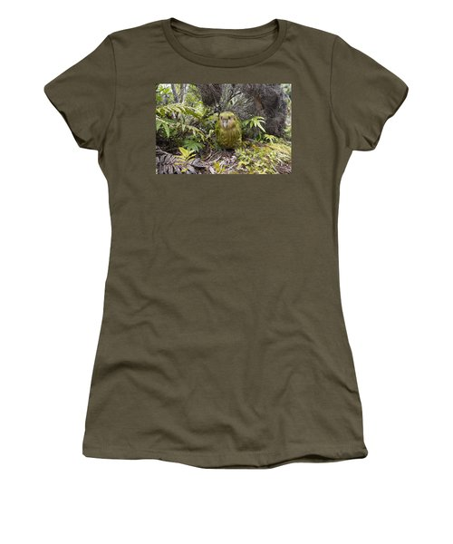 Women's T-Shirt featuring the photograph Kakapo Male In Forest Codfish Island by Tui De Roy