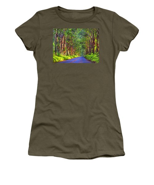 Kauai Tree Tunnel Women's T-Shirt (Junior Cut) by Dominic Piperata