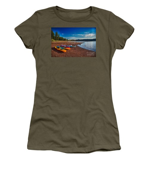 Kayaking On Howard Prairie Lake In Oregon Women's T-Shirt