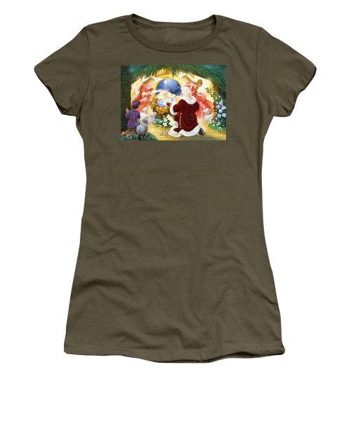 Kneeling Santa Nativity Women's T-Shirt