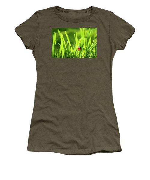 Ladybug In Grass Women's T-Shirt (Athletic Fit)