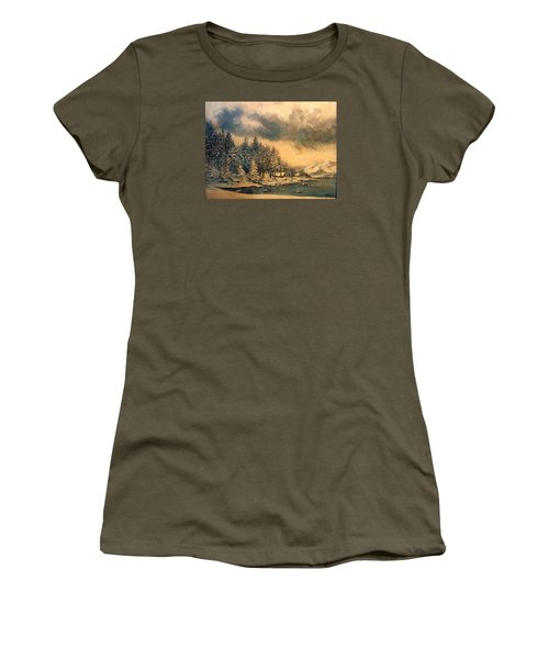Women's T-Shirt (Junior Cut) featuring the painting Lake Tahoe Winter Colors 2 by Donna Tucker