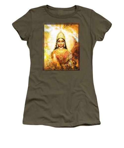 Women's T-Shirt (Junior Cut) featuring the mixed media Lakshmi Goddess Of Abundance In A Galaxy by Ananda Vdovic