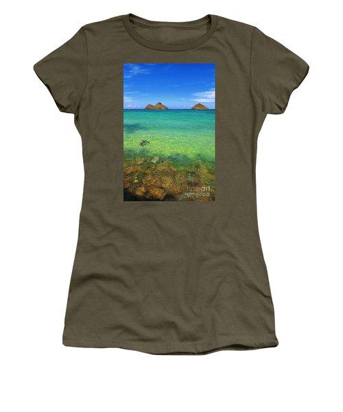 Lanikai Beach Sea Turtle Women's T-Shirt (Junior Cut) by Aloha Art