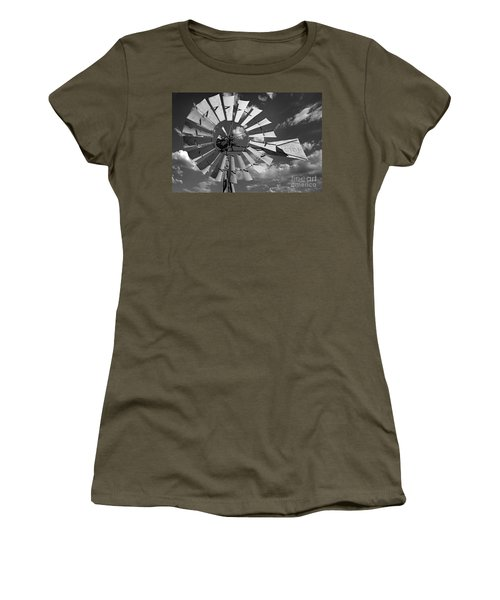 Large Windmill In Black And White Women's T-Shirt
