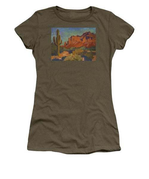 Late Afternoon Light At Superstition Mountain Women's T-Shirt (Junior Cut) by Diane McClary