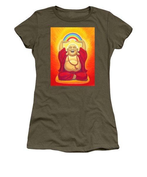 Laughing Rainbow Buddha Women's T-Shirt (Athletic Fit)