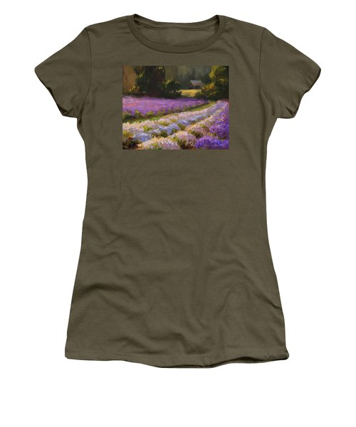 Lavender Farm Landscape Painting - Barn And Field At Sunset Impressionism  Women's T-Shirt