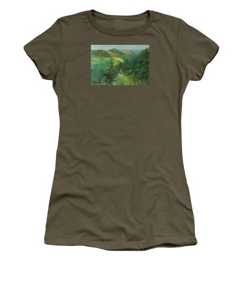 Layers Of Mountain Ranges Colorful Original Landscape Oil Painting Women's T-Shirt (Athletic Fit)