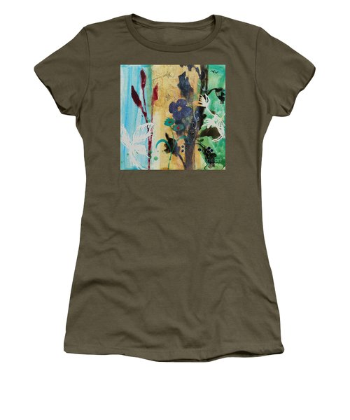 Women's T-Shirt (Junior Cut) featuring the painting Leaf Flower Berry by Robin Maria Pedrero