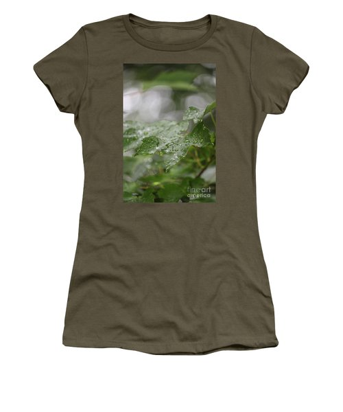 Leafy Raindrops Women's T-Shirt (Athletic Fit)