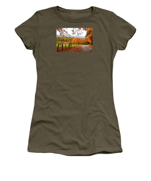 Women's T-Shirt (Junior Cut) featuring the photograph Leaves A'fallin by Geraldine DeBoer