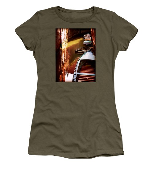 Women's T-Shirt (Junior Cut) featuring the photograph Legata Nel Canale by Micki Findlay