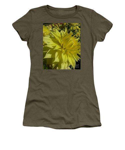 Lemon Yellow Dahlia  Women's T-Shirt (Junior Cut) by Susan Garren