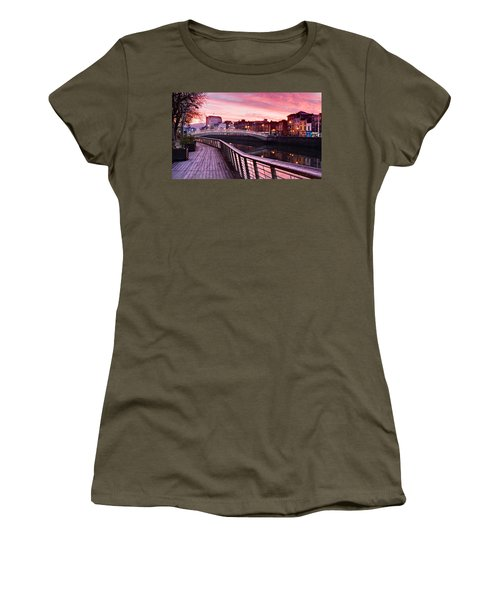 Women's T-Shirt featuring the photograph Liffey Boardwalk At Dawn - Dublin by Barry O Carroll
