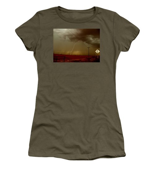 Women's T-Shirt (Junior Cut) featuring the photograph Lightning Strike In Oil Country by Ed Sweeney