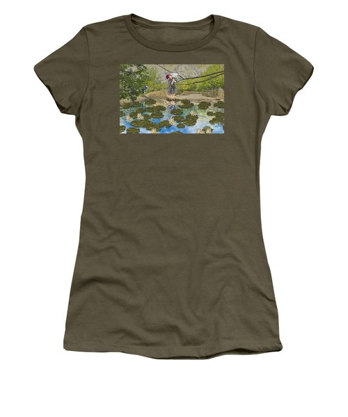Lilly Pad Lane Women's T-Shirt (Junior Cut) by Liane Wright