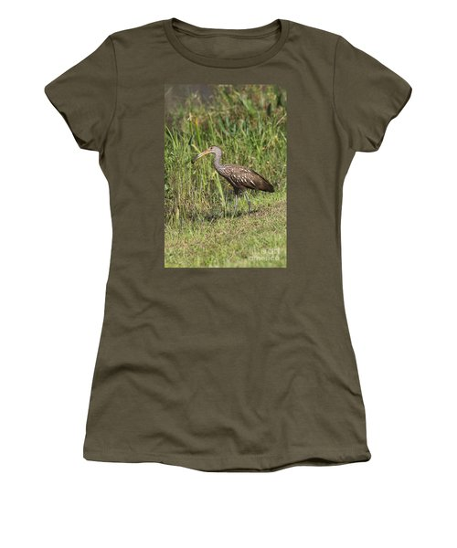 Women's T-Shirt (Junior Cut) featuring the photograph Limpkin With Apple Snail by Christiane Schulze Art And Photography