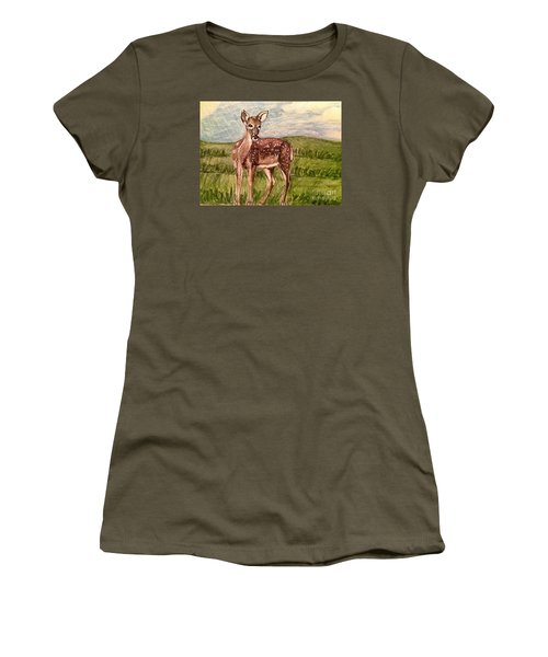 Women's T-Shirt (Junior Cut) featuring the painting Listening To The Creator's Voice by Kimberlee Baxter