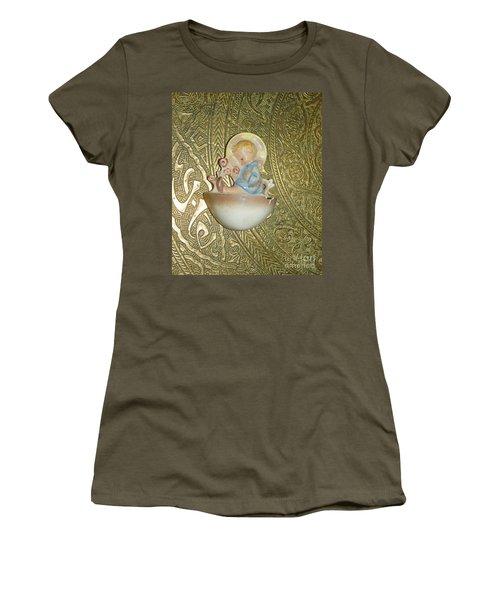 Newborn Boy In The Baptismal Font Sculpture Women's T-Shirt