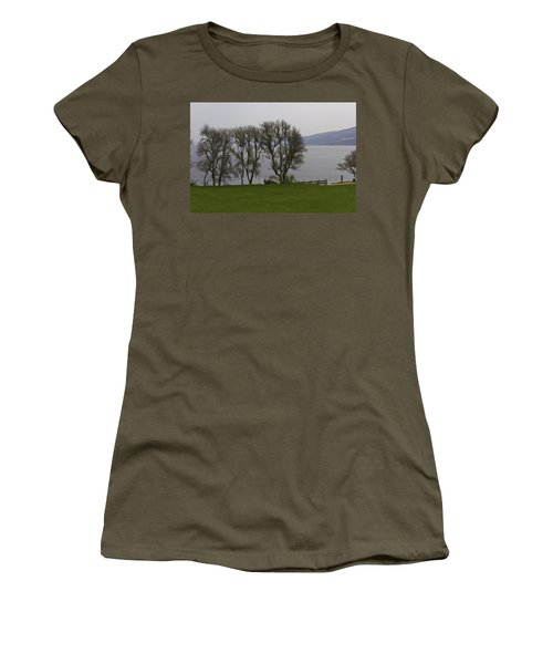 Loch Ness And Boat Jetty Next To Urquhart Castle Women's T-Shirt (Athletic Fit)