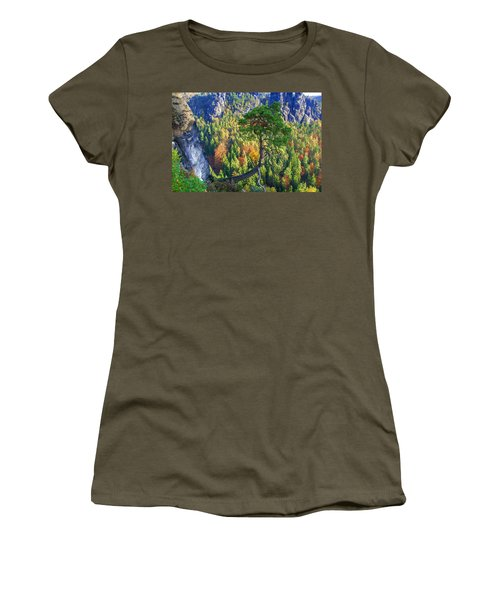 Lonely Tree In The Elbe Sandstone Mountains Women's T-Shirt