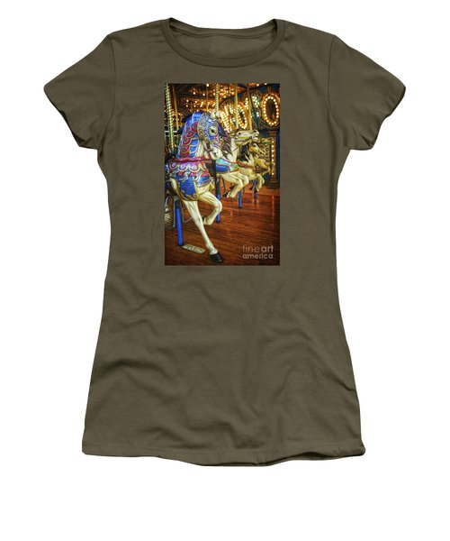 Women's T-Shirt (Junior Cut) featuring the photograph Dancing Horses by Debra Fedchin
