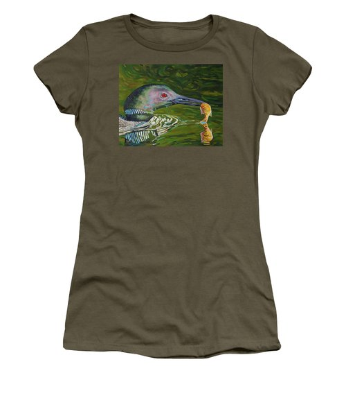 Loon Lunch Women's T-Shirt (Junior Cut) by Phil Chadwick