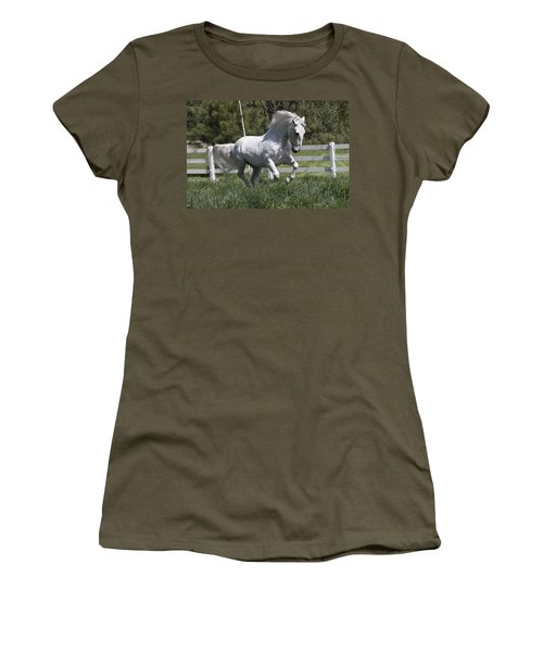 Women's T-Shirt (Junior Cut) featuring the photograph Loose In The Paddock 5594 by Wes and Dotty Weber