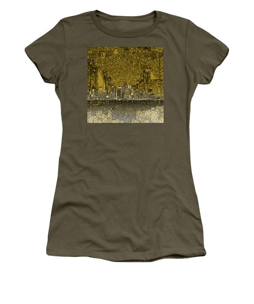 Los Angeles Skyline Abstract 4 Women's T-Shirt (Athletic Fit)