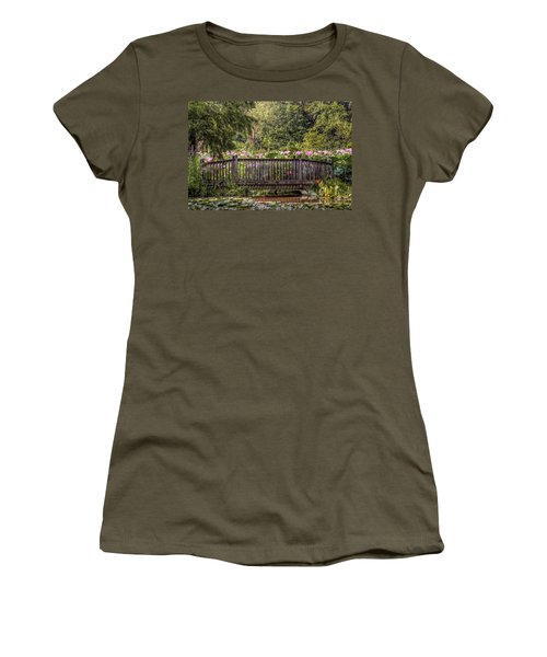 Women's T-Shirt (Junior Cut) featuring the photograph Lotus Garden Pond And Bridge by Jerry Gammon