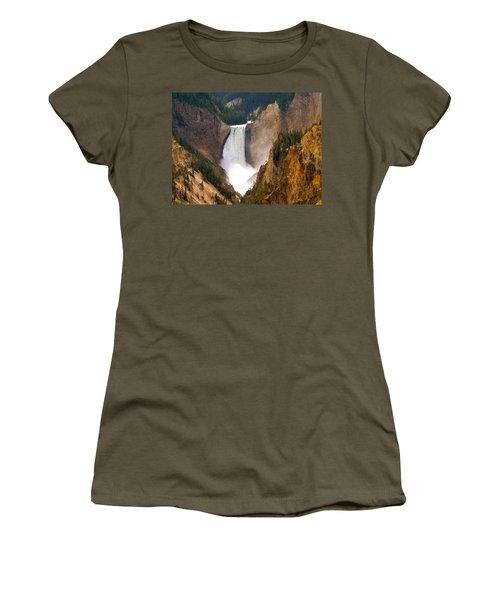 Women's T-Shirt (Junior Cut) featuring the photograph Lower Yellowstone Falls by Eric Tressler